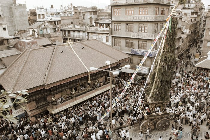 People pulling the chariot of Janmadya, towards Kathmandu Durbarsquare, in this picture is in front of Akash Bhairab, Kathmandu.